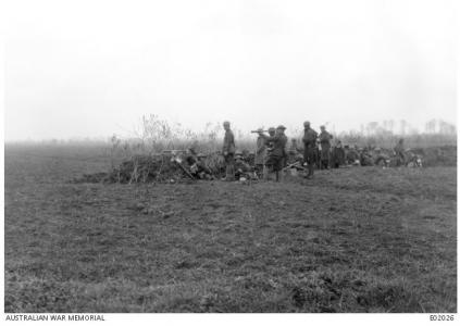Bombing of Stratzeele, watched by Australian troop at Borre 1918. Photographer unknown, photograph source AWM E02026