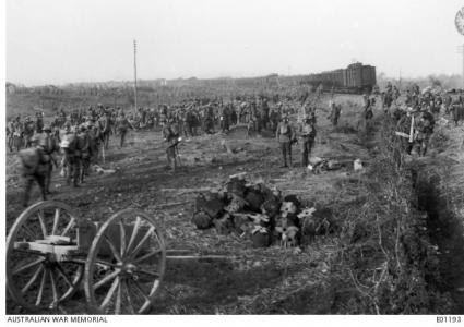 British Troops entraining at Popperinghe Gate, October 1917. Photographer unknown, photograph source AWM E01193