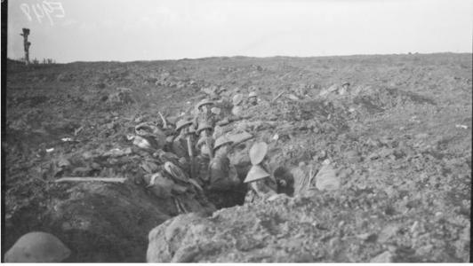 Broodseinde Ridge. Australian Troops in Front Line Trenches October 1917. Photographer unknown, photograph source AWM E00948