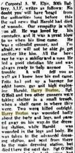 Burton Harry.  Letter from Cpl A.W. Ellis sourced from Geraldton Guardian 10.8.1918 p4
