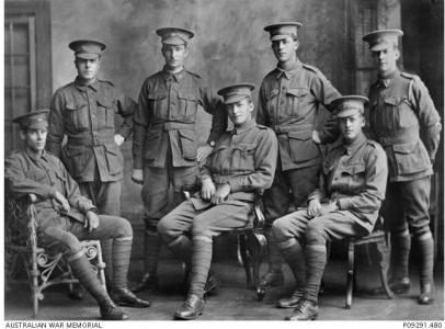 'C' Company 32nd Bn. Allan W. Copley front right (DOW). Back row 2nd from right Ernest Mellows who was shot with Copley in Fromelles. Photographer unknown, photograph source AWM P09291.480