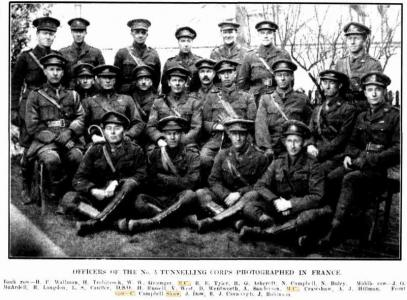 C. Campbell Shaw, Front row Right. 3rd Tunnellers in France Western Mail 27.7.1917 p 23