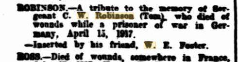 C.W. Robinson. Obituary.  Family Notices The West Australian 9.8.1917 p1