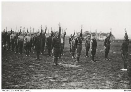 Australian soldiers training in fitness at Larkhill. Photographer unknown, photograph source AWM H0045