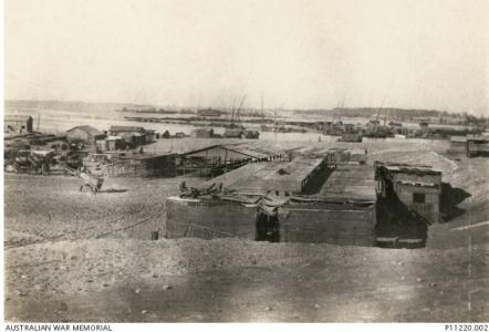 Port and buildings at Ferry Post, Suez. Photographer unknown, photograph source AWM P11220.002