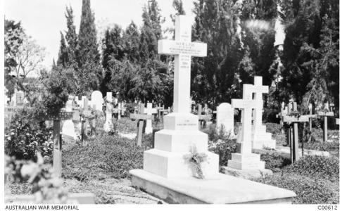 Cairo War Memorial Cemetery c 1916 with graves of Australian Soldiers. Photographer unknown, photograph source AWM C00612