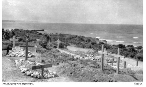 Cemetery at Queensland Point, Gallipoli Peninsula, July 1915. Photographer unknown, photograph source AWM G01054