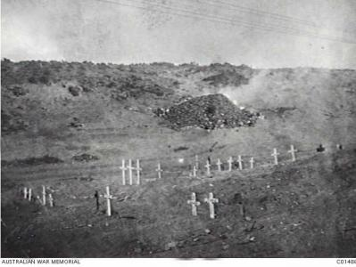 Cemetery near Lone PIne 1915 .Photographer unknown, photograph source AWM C01486