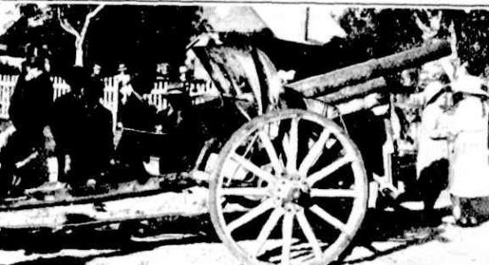 Col. Manning presented the Howitzer captured at Hamel to the Mayor and councillors of Guildford 1921. Photographer E.L.Mitchell, photograph source Western Mail, 20.10.1921. p21