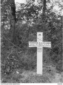 Cross for the men of the 51st who fell at Bois de l'Abbe 24/2.4.1918. Photo May 1918. Photographer unknown, photograph source AWM E04856