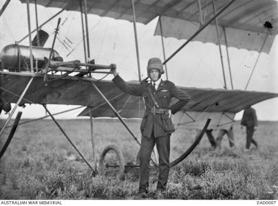 2nd Lieut. Lionel Ernest Cooke at the central Flying School Werribee,Vic. c1915. Photo source AWM DAD0007