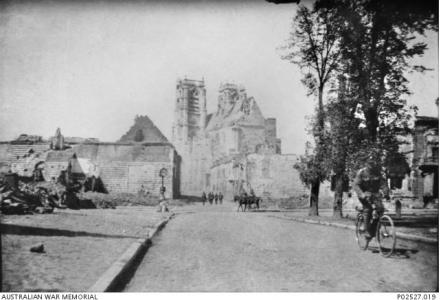 Damaged buildings Corbie , France 1918. Photographer unknown, photograph source AWM P02527.019