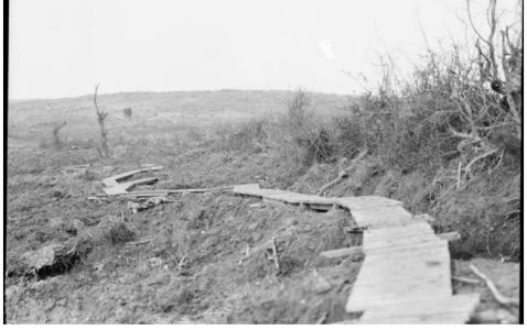 Duckboard track at Broodsende Ridge 1917. Photographer unknown, photograph source AWM E01148