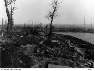 Dugout at Hell Blast Corner, Lake Zillebeke 1917. Photographer unknown, photograph source AWM E04611