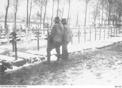 Australian Troops at Albert on the Somme. Photographer unknown, photograph source AWM E0016