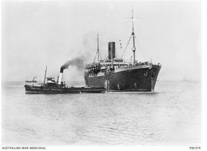 HMAT 'Euripides' 1915. Photgrapher Josiah Barnes, photograph source AWM PB0374