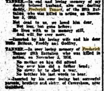 F. Tanner Obituary. Family Notices. West Australian  7.12.1916  p1
