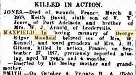 G E Maxfield. Western Mail, Family Notices 22.3.1918 p19