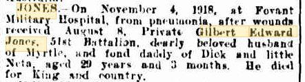 G.E. Jones. Image source Western Mail 22.11.1918 Family Notices p26