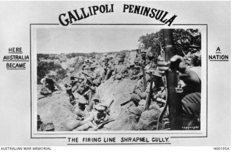 Gallipoli, Soldiers at the ready in the firing lineat Shrapnel Gully 1915. Photographer unknown, photograph source AWM H00195A