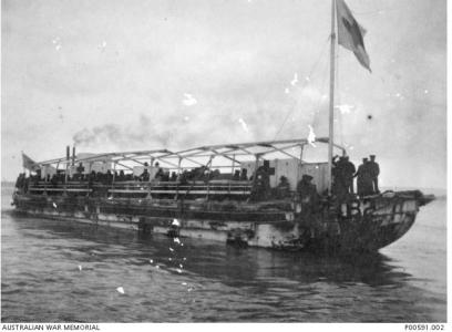 Gallipoli. Hospital barge carrying sick and wounded  to Hospital Ships. Photographer unknown, photograph source AWM P00591.002