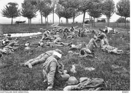 Gassed Australian soldiers awaiting treatment, Boise de L'Abbe 1918. Photographer unknown, photograph source AWM E04851
