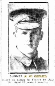 Gnr. A.W. Copley,  DOW. Photograph sourced from the Sunday Times 3.9.1916 p1