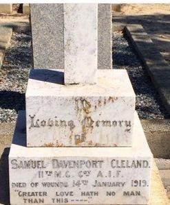 Grave of Samuel Davenport Cleland, DOW 14.1.1919. Grave located in Fremantle Cemetery, Palmyra WA. Image source Billion Graves