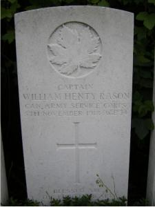 Grave of William Henty Rason. Photographer Julie Lukins, photograph source Canadian Virtual War Memorial website