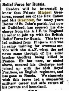 Greatorex, Michael. Article South Western Advertiser 27.6.1919 p2