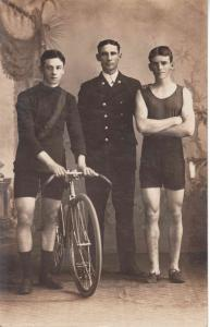 H Kingsbury Champoin Cyclist left, with Cptn. GVFB Day and Les Bishop Champion Foot racer 1911 Photograph courtesy G Miocevich