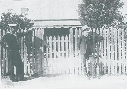H.S. Hyde and nephew outside 4 Scott Street c1912. Photo courtesy R.Hyde