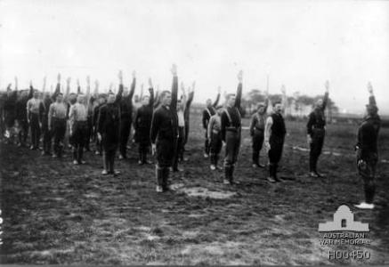 Australian soldiers training in fitness at Larkhill. Photographer unknown, photograph source AWM H00450