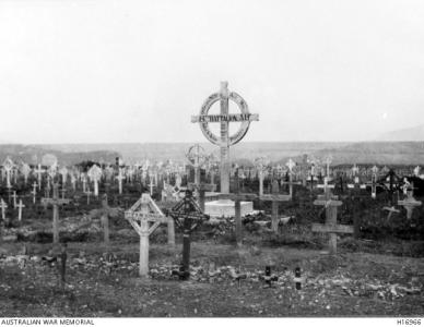 Cemetery at Pozieres. Photographer unknown, photograph source AWM H16966
