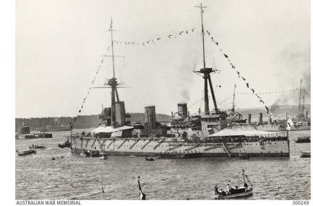 HMAS 'Australia' 1913 in Sydney Harbour. Photographer  unknown, photograph source AWM 300249