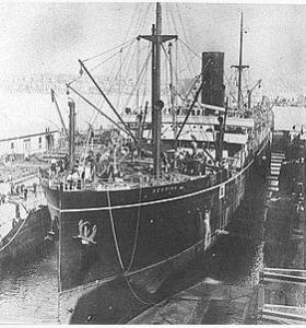 HMAS 'Berrima' under construction 1913. Unsourced image Wikipedi