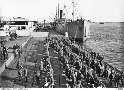 HMAT 'Afric' at Melbourne Port 1916. Photographer Josiah Barnes, photograph source AWM PB0065