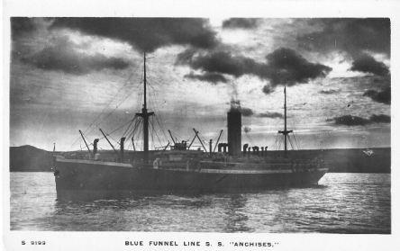 HMAT 'Anchises'. Postcard source flotilla-australia.com