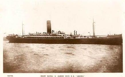 HMAT 'Arawa'. Photographer unknown. Postcard by Shaw Savill and Albion Line. Image sourced with permission from Great Southern Cards