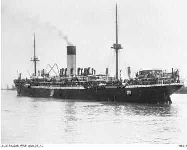 HMAT 'Ascanius' 1914. Photographer E.L. Mitchell, photograph source AWM H16157