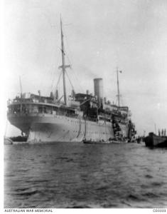 HMAT 'Canberra'  taking coal onboard in Columbo 1917. Photographer unknown, photograph source AWM C0333