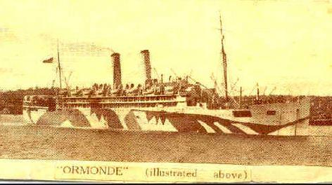 HMAT 'Ormonde'. Photograph source sharpesonline.com