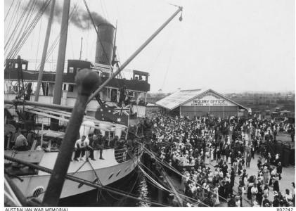 HMAT 'Wandilla' in Brisbane 1916. Photographer unknown, photograph source AWM H02242