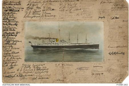 HMAT 'Argyllshire' 1914-15. Postcard by Geyer Studio NSW, Photgraph source AWM P10581.002