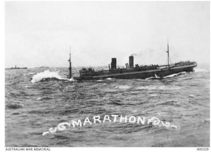 HMAT 'Marathon'. Photographer unknown, photograph source AWM H00329
