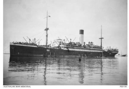 HMAT 'Ulysses'. Photographer P.E.F. Schuler, photograph sourced AWM PS015