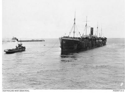 HMAT' 'Persic' leaving Melbourne Wharf. Photographer Josiah Barnes, photograph source AWM P00997.013
