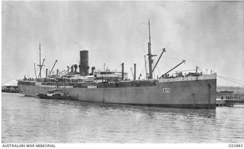 HMAT 'Port Sydney' A15. Originally Star of England. Photographer unknown, photograph source AWM C02483