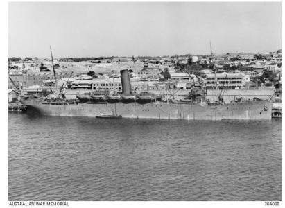 HMAT 'Themistocles' at Fremantle,WA. Photographer unknown, photograph source AWM 304038