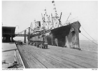 HT 'Devon F186', returned troop ship at Fremantle 1919. Photographer Josiah Barnes, photograph sourced AWM PB1324